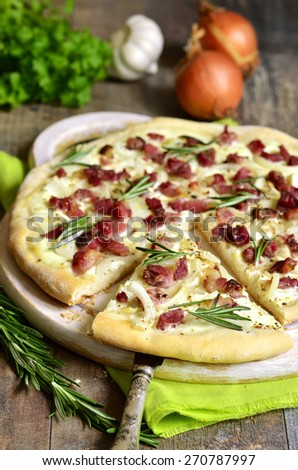 Tarte flambee,rustic french pie.
