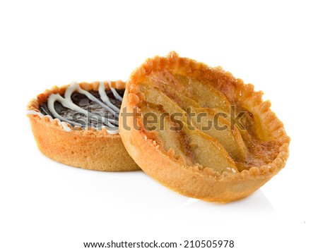 Tarts with apples and chocolate, tartlets isolated on white background - stock photo