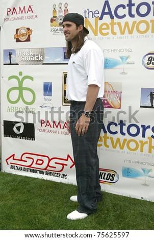 "TARZANA, CA - APRIL 18: Brett Swain arrives at the 8th annual ""Hack n' Smack, Kerry Daveline Memorial, Celebrity Golf Classic"" on April 18, 2011 in Tarzana, CA - stock photo"