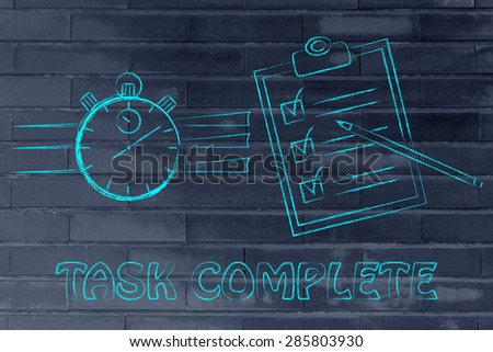 task complete: stopwatch and to do list fully ticked off - stock photo