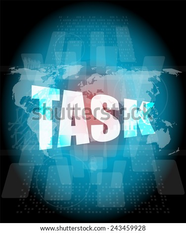 task word on digital screen background with world map - stock photo
