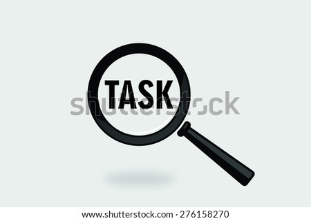 task word with magnifying glass in grey background - stock photo