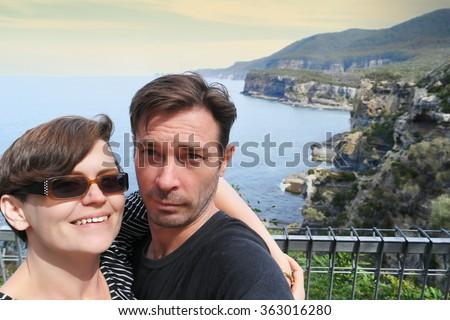 Tasman Peninsula couple selfie - stock photo