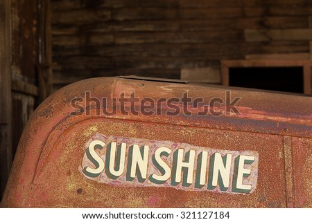 Tasmania, Australia-January 27, 2013. Detail of old farm machinery made the Australian manufacturer Sunshine Harvester Works - stock photo