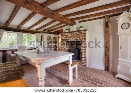 Tastefully Modernised Dining Room Withing 16th Century English Cottage With Traditionally Styled Decor Sympathetic To The