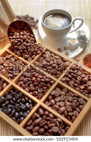 tasting coffee. Arabica Coffee, Brazilian Coffee, Coffee Kenya, Colombian Cofee, roasted coffee, Costa Rica Coffee, Ethiopian coffee, Coffee of Jamaica, Indonesian Coffee, coffee mocha - stock photo
