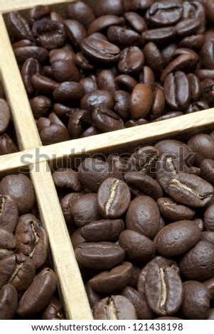 tasting coffee. Arabica Coffee, Brazilian Coffee, Coffee Kenya, Colombian Cofee, roasted coffee, Costa Rica Coffee, Ethiopian coffee, Coffee of Jamaica, Indonesian Coffee, - stock photo