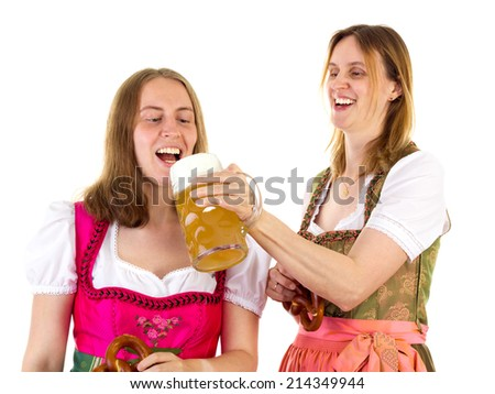Tasting double beer at oktoberfest - stock photo