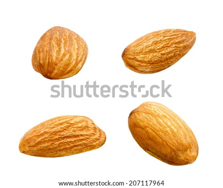 tasty almonds isolated on the white background