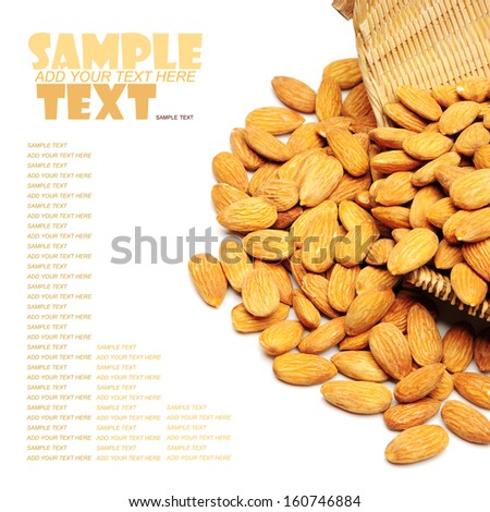 tasty almonds nuts, isolated on white  - stock photo