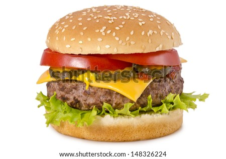 Tasty and appetizing hamburger on a white background - stock photo