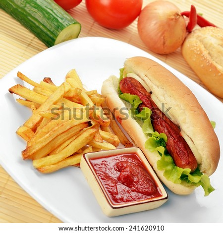 Tasty and appetizing  hot dog with fries on white plate   - stock photo