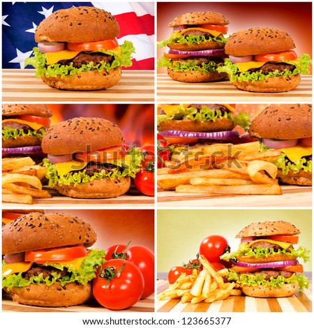 Tasty and big American burgers