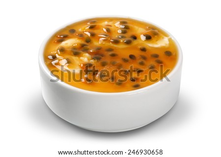 tasty and delicious passion fruit mousse - stock photo