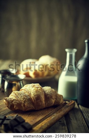 Tasty and fresh croissant. Rustic style