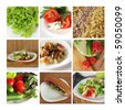 Tasty and healthy food collage made from nine photographs - stock photo