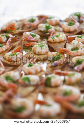 tasty and healthy shrimp on chips