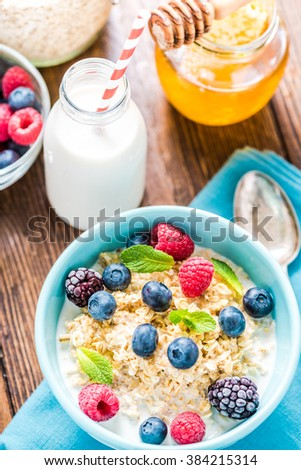 Tasty and light diet cereal breakfast with sumer fruits, fresh milk and honey. Diet concept and wellbeing.