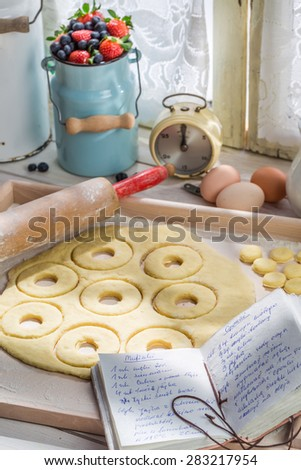 Tasty and sweet donuts made of dairy ingredients - stock photo