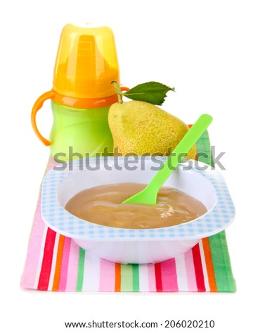 Tasty baby fruit puree and baby bottle isolated on white - stock photo
