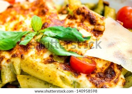 tasty Baked Italian pasta on the table - stock photo