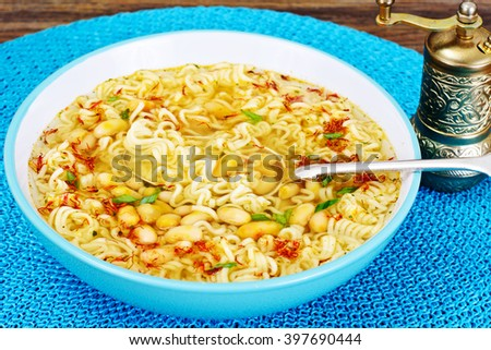 Tasty Bean Soup with Chinese Noodles. Studio Photo