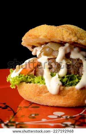 Tasty beef burger with vegetables  - stock photo
