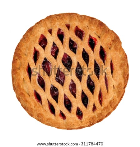 Tasty berry and rhubarb pie overhead view isolated on white - stock photo