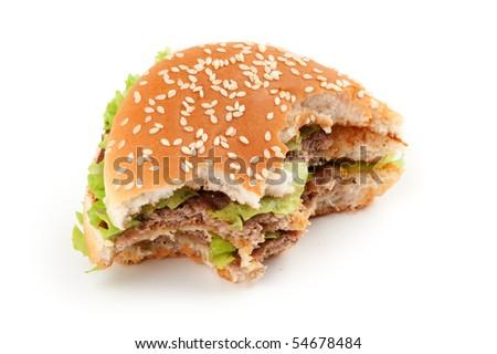 Tasty big hamburger isolated on white background - stock photo