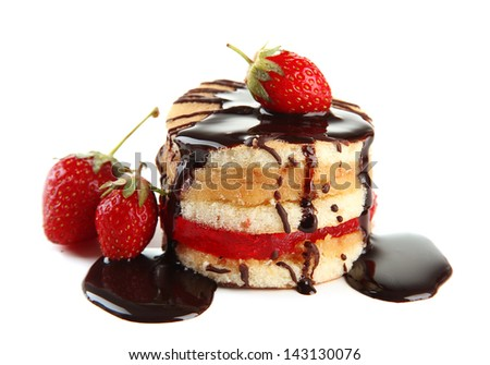 Tasty biscuit cake with chocolate and berries isolated on white