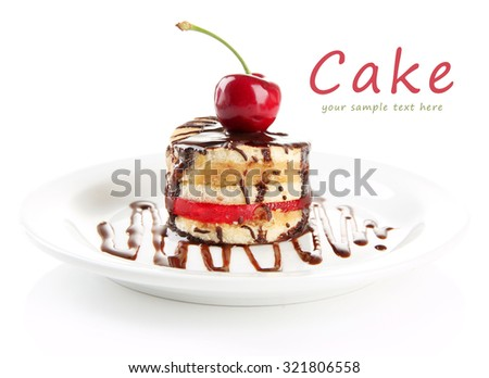 Tasty biscuit cake with chocolate and berry on plate, isolated on white - stock photo