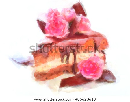 Tasty biscuit cake with jam and berry on plate, isolated on white. Watercolor