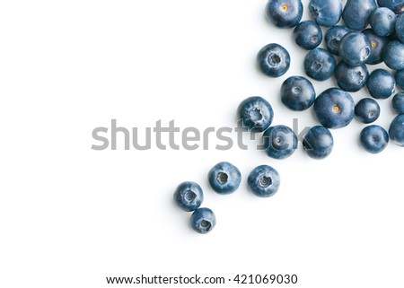 Tasty blueberries isolated on white background. Blueberries are antioxidant organic superfood. - stock photo