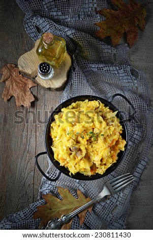 Tasty braised cabbage with minced meat and mushroom - stock photo