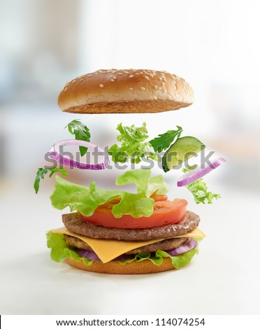 Tasty burger close up - stock photo