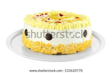 Tasty cake, isolated on white - stock photo