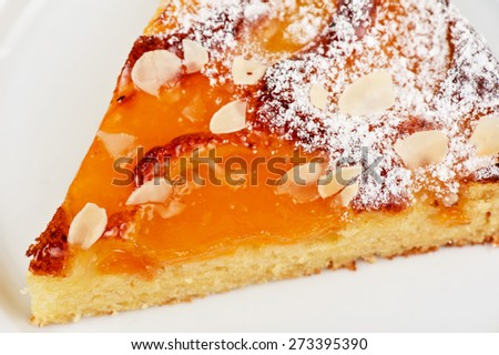 tasty cake with apricot and cottage cheese with nuts - stock photo
