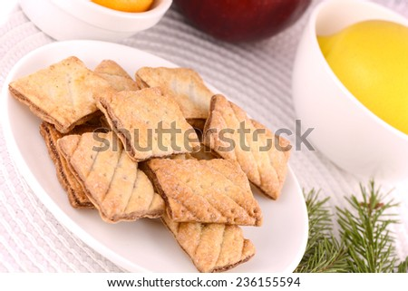 tasty cake with fruits and green eve - stock photo
