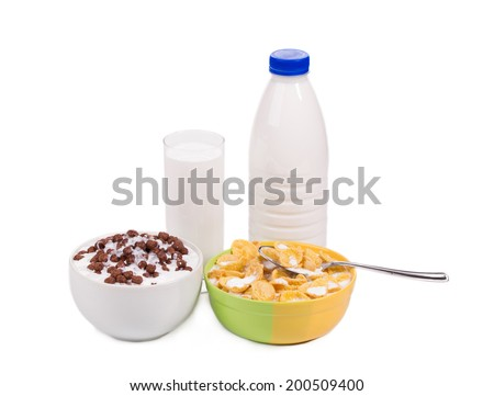 Tasty cereal breakfast for kids. Isolated on a white background. - stock photo