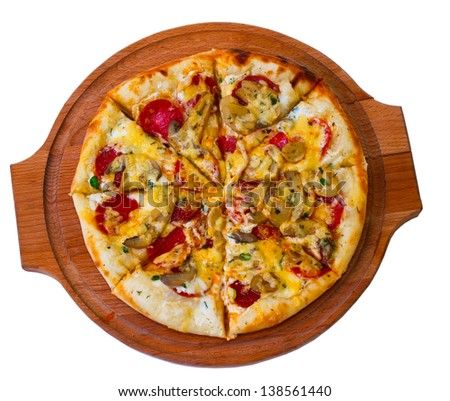 tasty cheese on wooden tray close up mushrooms pizza white background clipping path