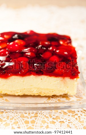 Tasty  cheesecake  with  fruit  jelly  of berries