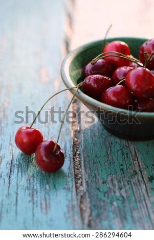tasty cherries in a bowl/ cherries - stock photo
