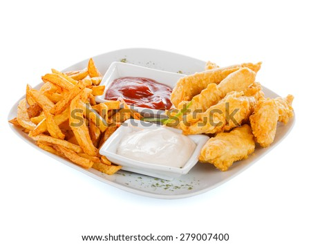 Tasty chicken breast strips in fried crispy bread crumbs with potato chips. - stock photo