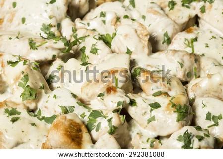 Tasty chicken in white sauce - stock photo