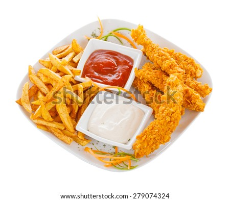 Tasty chicken strips in bread crumbs with fried potato chips and ketch-up and mayonnaise. - stock photo