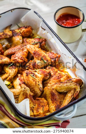 Tasty chicken wings with barbecue sauce
