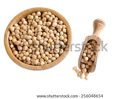 Tasty chickpeas ready for cooking isolated on white background - stock photo