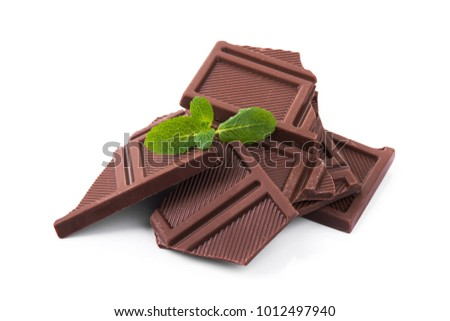 tasty chocolate bars isolated on a white background