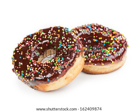 Tasty chocolate donut isolated on white background  - stock photo