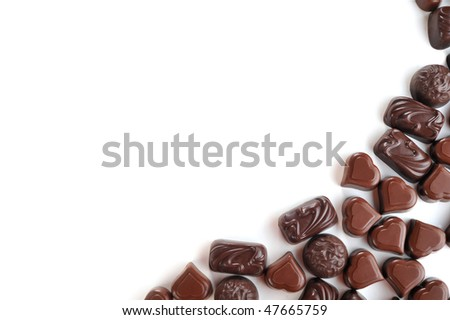 Tasty chocolates isolated on  white